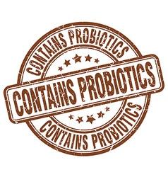 Contains probiotics brown grunge round vintage vector