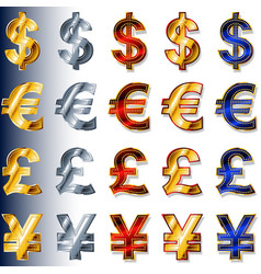 currency monetary sign icon dollar usd euro eur vector image