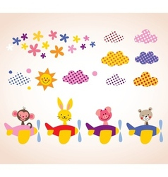 cute animals in airplanes kids design elements set vector image