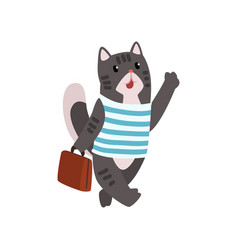 cute cat animal cartoon character traveling with vector image