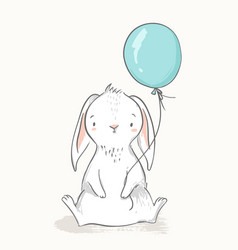 cute rabbit holding a balloon childish vector image
