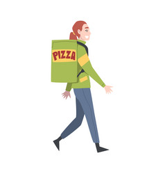 delivery girl walking with parcel box on her back vector image
