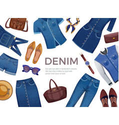 Denim clothing frame background vector