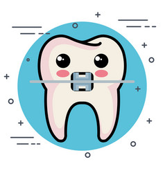 Dental care kawaii characters vector