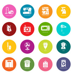 domestic appliances icons set colorful circles vector image