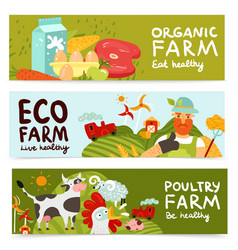 Farm horizontal banners vector