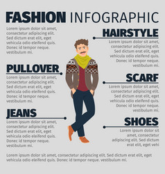 Fashion infographic with young artist man vector
