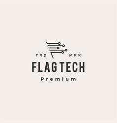 flag tech digital hipster vintage logo icon vector image