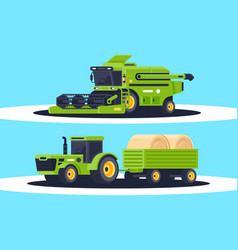 flat agricultural machinery with stack of hay for vector image