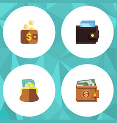 flat icon purse set of pouch billfold payment vector image