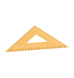 flat of a brown wooden triangular ruler a vector image