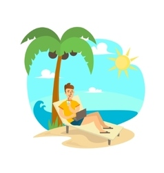Freelance Man on Beach vector image