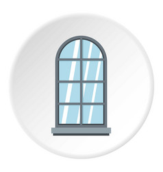 Gray arched window icon circle vector