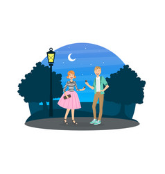 happy couple in love having date at night on vector image