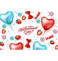 Happy valentine day heart balloon candy vector