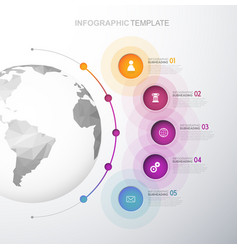 infographic template with five circles and icons vector image