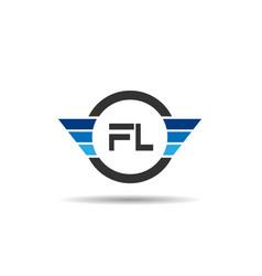 initial letter fl logo template design vector image