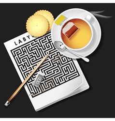 Labyrinth game with hot tea and cracker vector