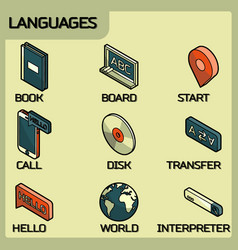 Languages color outline isometric icons vector