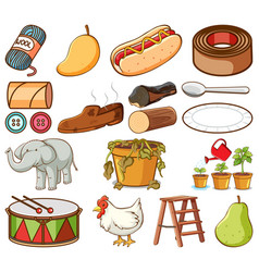 Large set different food and other items vector