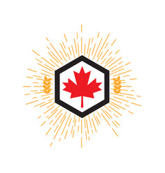 made in canada banner flag red maple leaf vector image