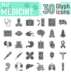 medicine glyph icon set hospital symbols vector image