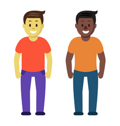 meeting of two friends guys cartoon colorful flat vector image