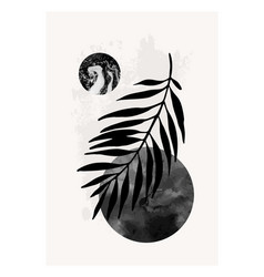 Modern minimal with palm leaf and hand drawn vector