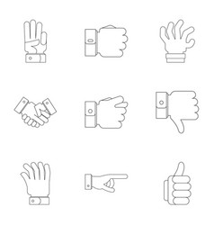 Motion gesture icons set outline style vector