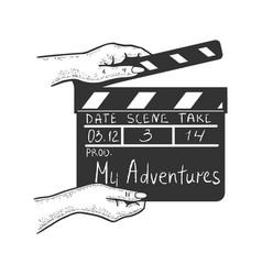 Movie clapperboard sketch vector
