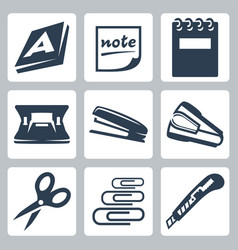 office stationery icons set ream note writing pad vector image