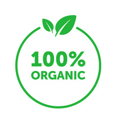 Organic 100 percent circle badge with green leaf vector