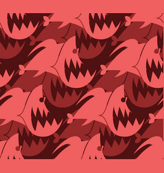 Piranha seamless pattern marine predator fish vector