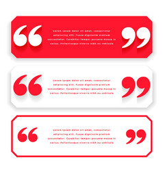 Red wide quotes or testimonial template design vector