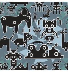 Robot and monsters cute seamless pattern vector image