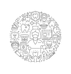 round design element with dental care icons vector image