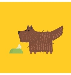 Scottish terrier with food bowl image vector