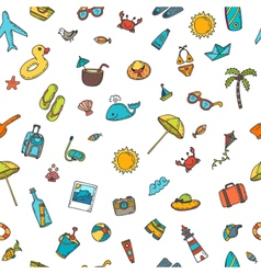 Seamless summer pattern with hand drawn beach vector