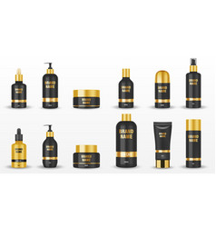 Set black cosmetic packages with golden cup vector