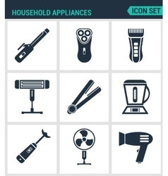 Set modern icons Household Appliances hair vector image