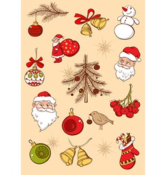 Set of Christmas hand drawn icons vector image