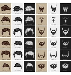 Set of hairstyles and beards vector