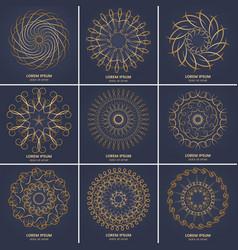 set of nine vintage geometric circular elements vector image