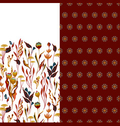 Set of two horizontal seamless floral pattern with vector