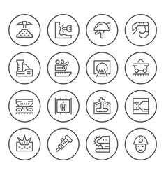 Set round line icons of mining vector