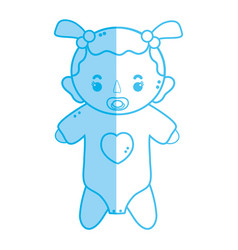 Silhouette baby girl with pacifier and hairstyle vector