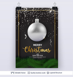 Silver christmas ball and text on dark background vector