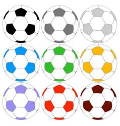 Soccer ball icon colored set vector