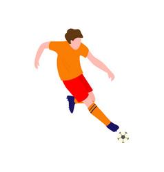 Soccer player in brilliant sportswear kicks the vector