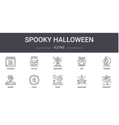 Spooky halloween concept line icons set contains vector